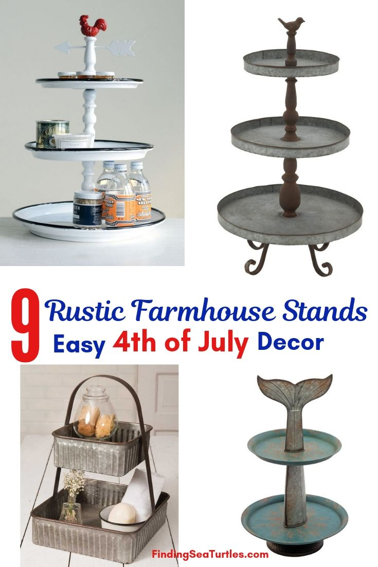 9 Rustic Farmhouse Stands Easy 4th Of July Decor #TierStand #TierTrayStand #MetalTrayStand #Farmhouse #Decor #HomeDecor #Decorate #Vignette #FarmhouseStands