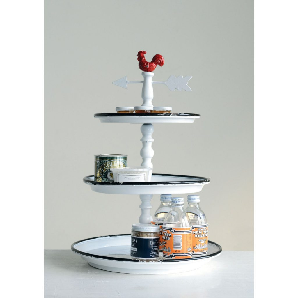9 Affordable Farmhouse Tiered Stands 3R Studios 3 Tier Metal Rooster Tray #TierStand #TierTrayStand #MetalTierStand #Decor #HomeDecor #Decorate