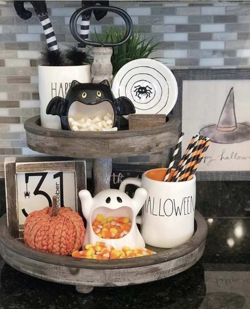 How to Style a Tiered Tray For Quick and Easy Decor Halloween Decor Linda At Life On Summerhill #TierStand #TieredStand #TieredTrays #Farmhouse #Decor #HomeDecor #Decorate #Vignette #DIY #BudgetFriendly #KidFriendly