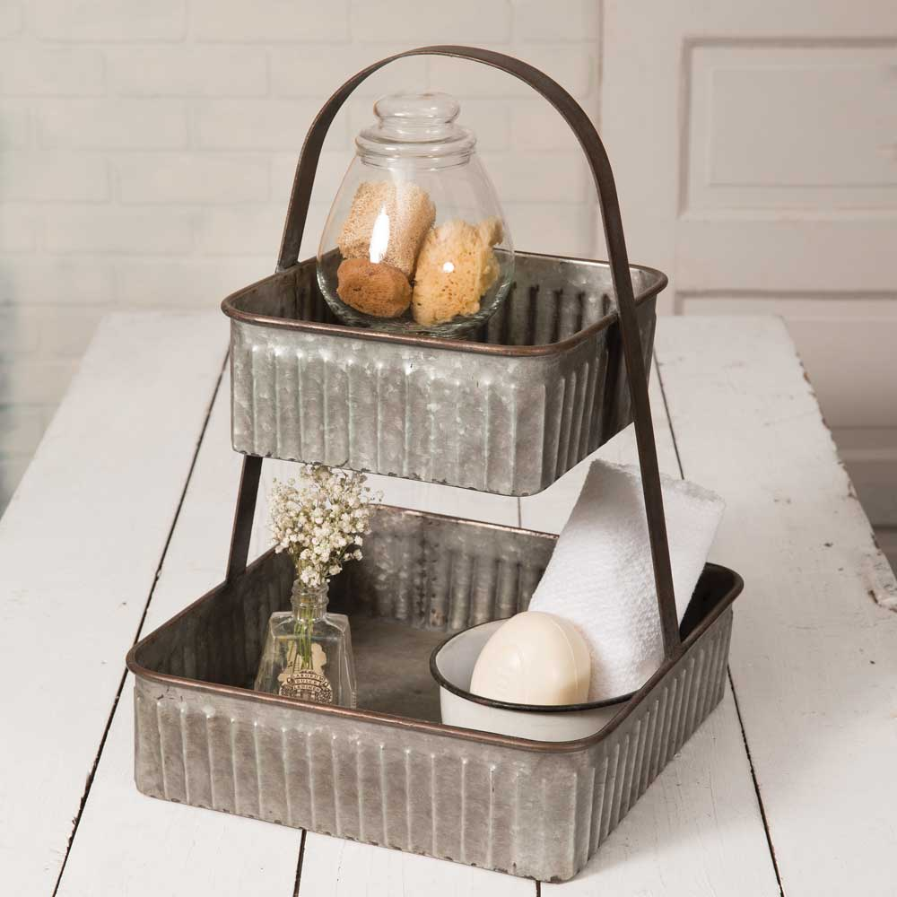 9 Affordable Farmhouse Tiered Stands Two Tiered Corrugated Square Tray #TierStand #TierTrayStand #MetalTrayStand #Farmhouse #Decor #HomeDecor #Decorate