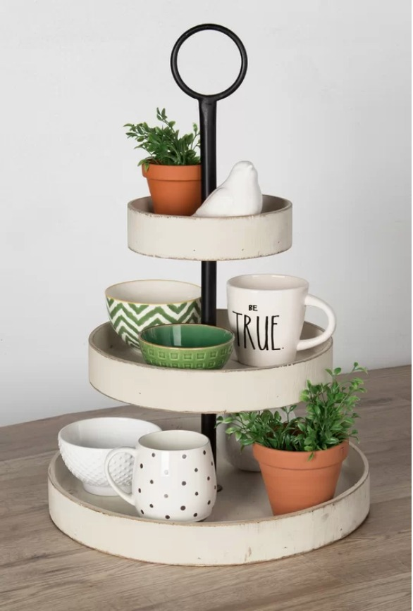 9 Affordable Farmhouse Tiered Stands McClary White Tiered Stand #TierStand #TierTrayStand #MetalTrayStand #Farmhouse #Decor #HomeDecor #Decorate