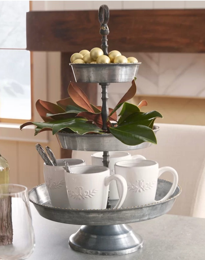 9 Affordable Farmhouse Tiered Stands Payette 3 Tiered Stand #TierStand #TierTrayStand #MetalTrayStand #Farmhouse #Decor #HomeDecor #Decorate