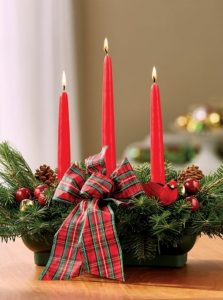 28 Christmas Centerpieces to Welcome House Guests Balsam Centerpiece 3 Candles Scottish Highland Bow #Gifts #Centerpiece #ChristmasCenterpiece #Christmas #Decor #ChristmasEvergreens