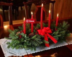 28 Christmas Centerpieces to Welcome House Guests Classic 5 Candle Centerpiece #Gifts #Centerpiece #ChristmasCenterpiece #Christmas #Decor #ChristmasEvergreens