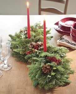 28 Christmas Centerpieces to Welcome House Guests Holiday Woodland Evergreens Centerpiece #Gifts #Centerpiece #ChristmasCenterpiece #Christmas #Decor #ChristmasEvergreens