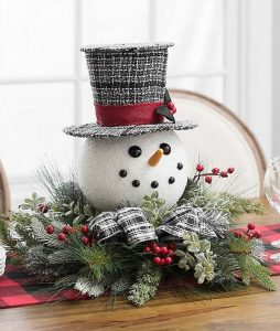 28 Christmas Centerpieces to Welcome House Guests Pine And Snowman Floral Arrangement #Gifts #Centerpiece #ChristmasCenterpiece #Christmas #Decor