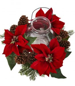28 Christmas Centerpieces to Welcome House Guests Poinsettia Pine And Pine Cone Candelabrum #Gifts #Centerpiece #ChristmasCenterpiece #Christmas #Decor