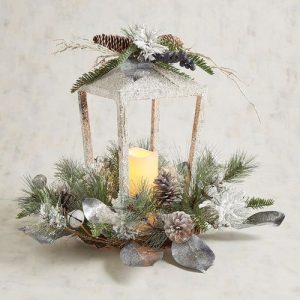 28 Christmas Centerpieces to Welcome House Guests White Silver Lantern With LED Flameless Candle #Gifts #Centerpiece #ChristmasCenterpiece #Christmas #Decor