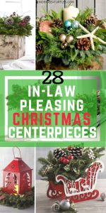 28 Christmas Centerpieces to Welcome House Guests #Gifts #Centerpiece #ChristmasCenterpiece #Christmas #Decor #ChristmasEvergreens