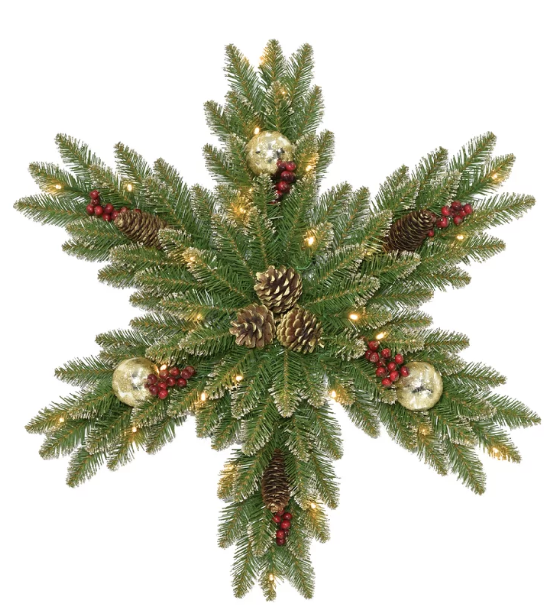 9 Christmas Front Door Decorations to Greet Your Holiday Guests Fir Snowflake Wreath #Christmas #ChristmasDecor #ChristmasSnowflake #ChristmasGatherings #FamilyGatherings #FrontDoorDecor #PorchDecor