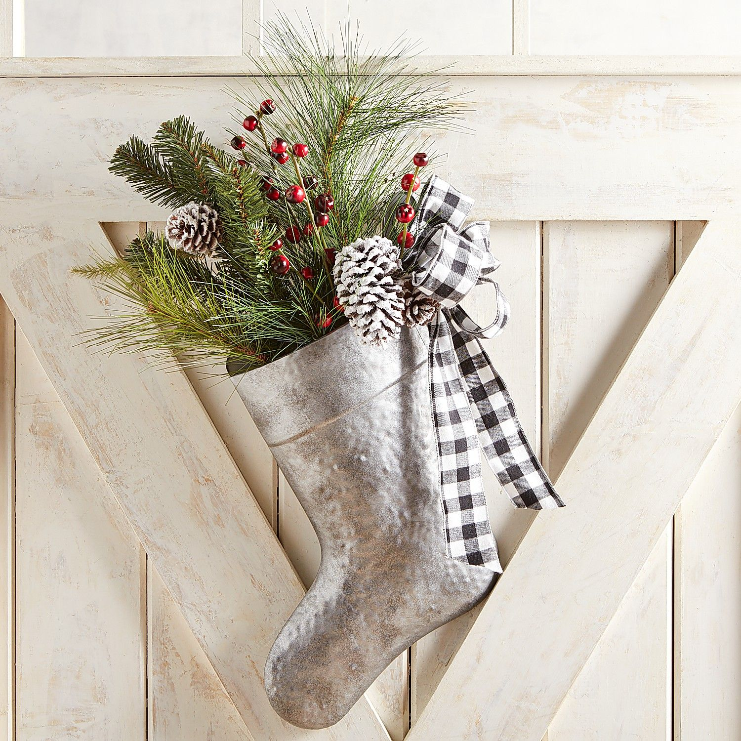 9 Christmas Front Door Decorations to Greet Your Holiday Guests Galvanized Stocking With Faux Greenery #Christmas #ChristmasDecor #ChristmasStocking #ChristmasGatherings #FamilyGatherings #FrontDoorDecor #PorchDecor