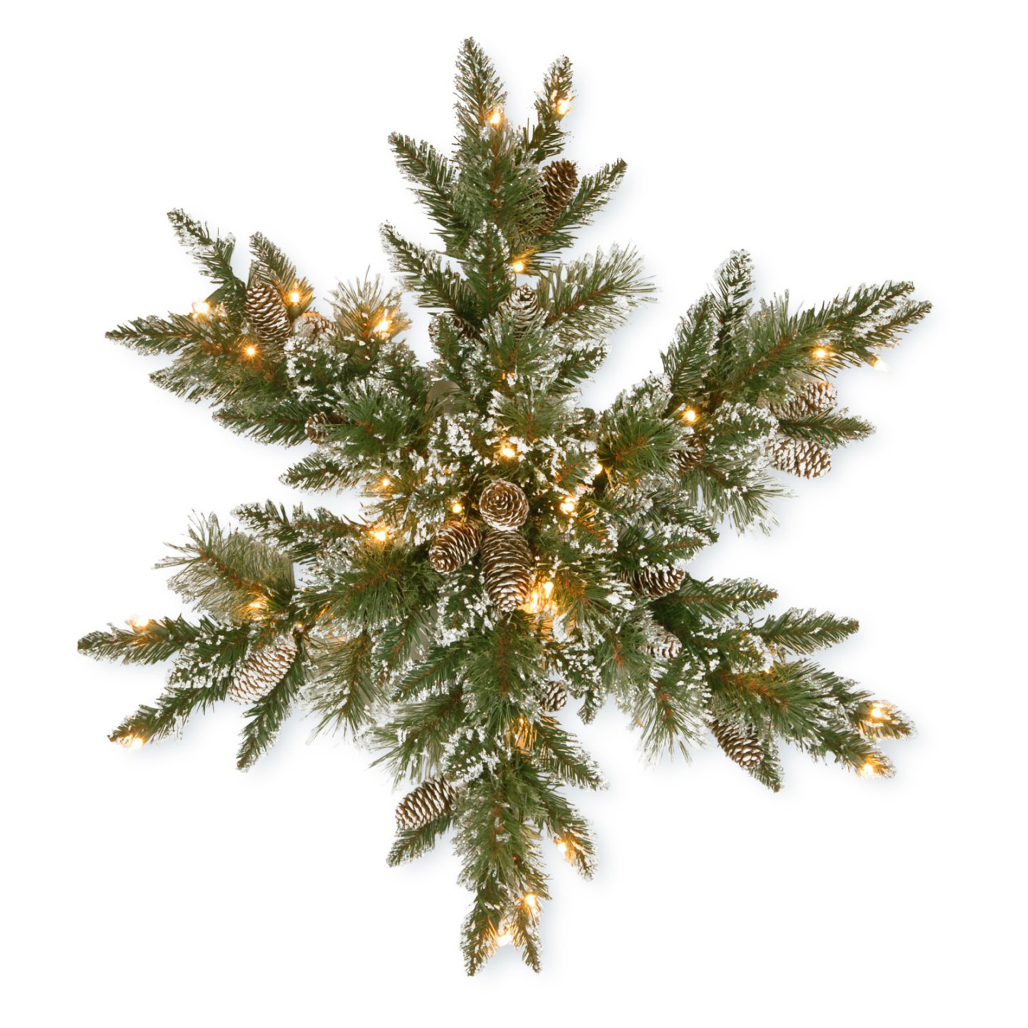 9 Christmas Front Door Decorations to Greet Your Holiday Guests Glittery Bristle Pine Snowflake With Lights #Christmas #ChristmasDecor #ChristmasSnowflake #ChristmasGatherings #FamilyGatherings #FrontDoorDecor #PorchDecor