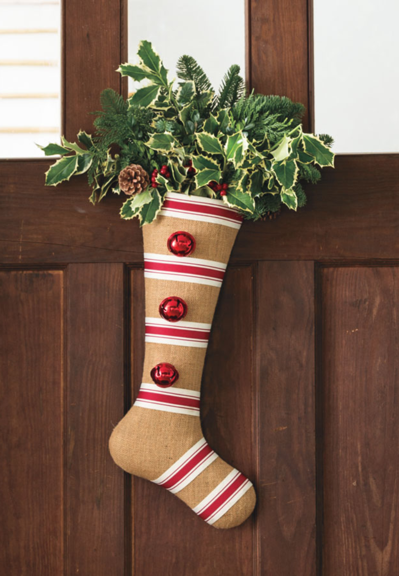 9 Christmas Front Door Decorations to Greet Your Holiday Guests Nostalgic Noble Fir Stocking #Christmas #ChristmasDecor #ChristmasSnowman #ChristmasStocking #FamilyGatherings #FrontDoorDecor #PorchDecor