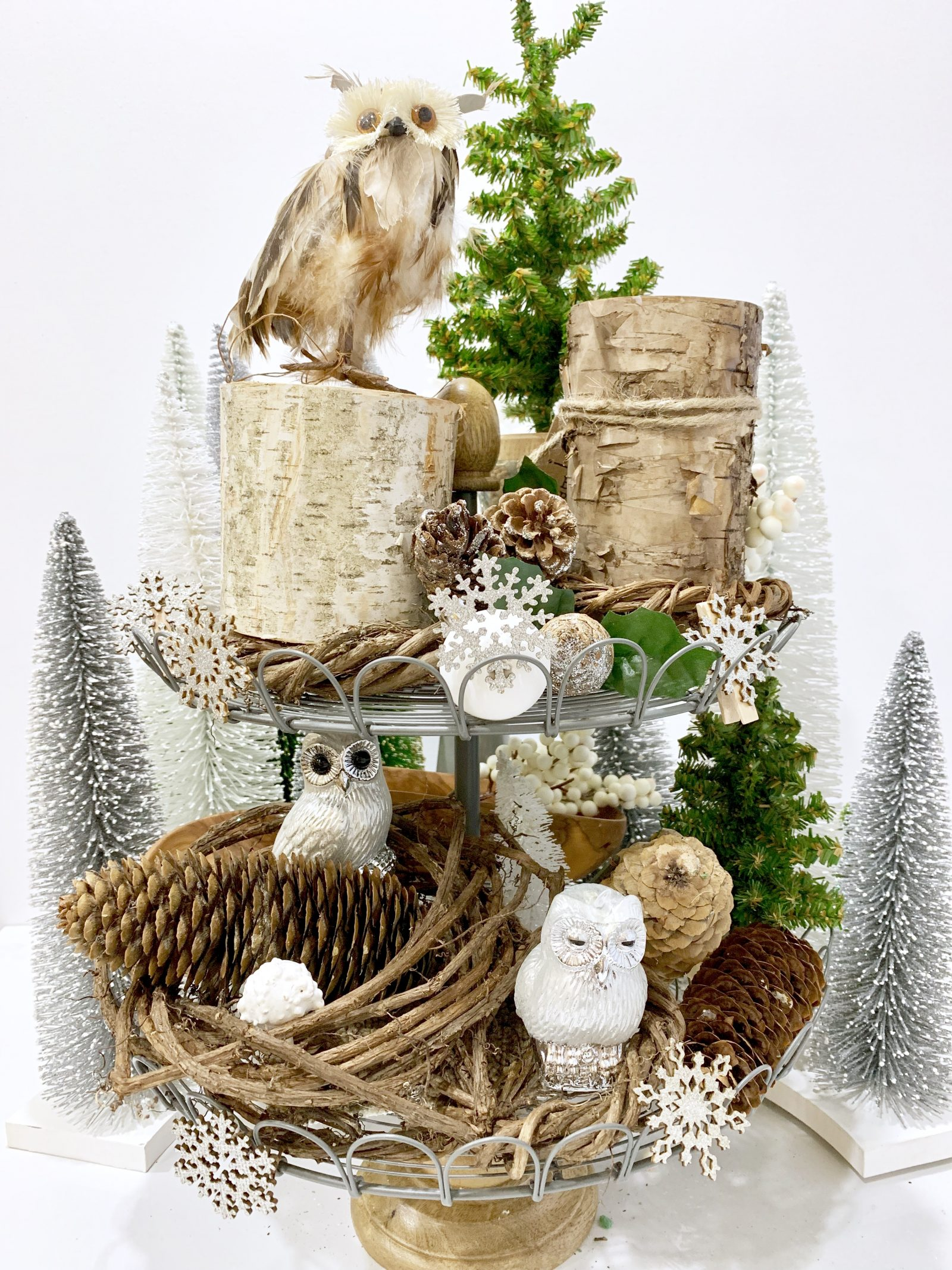 How to Style Your Tiered Stand for Christmas The Natural Beauty of the Christmas Woodlands #Farmhouse #Affordable #BudgetFriendly #Christmas #DIY #ChristmasDecor #FarmhouseDecor