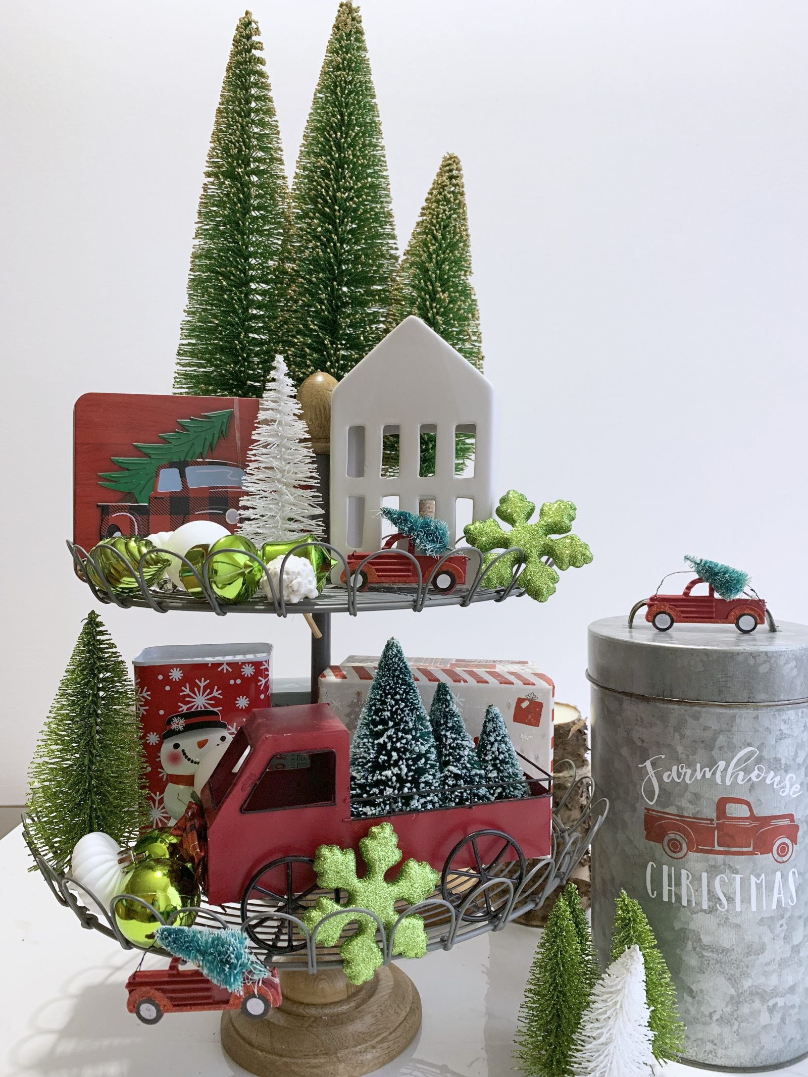 How to Style Your Tiered Stand for Christmas The Return Home With The Family Christmas Tree #Farmhouse #Affordable #BudgetFriendly #Christmas #DIY #ChristmasDecor #FarmhouseDecor