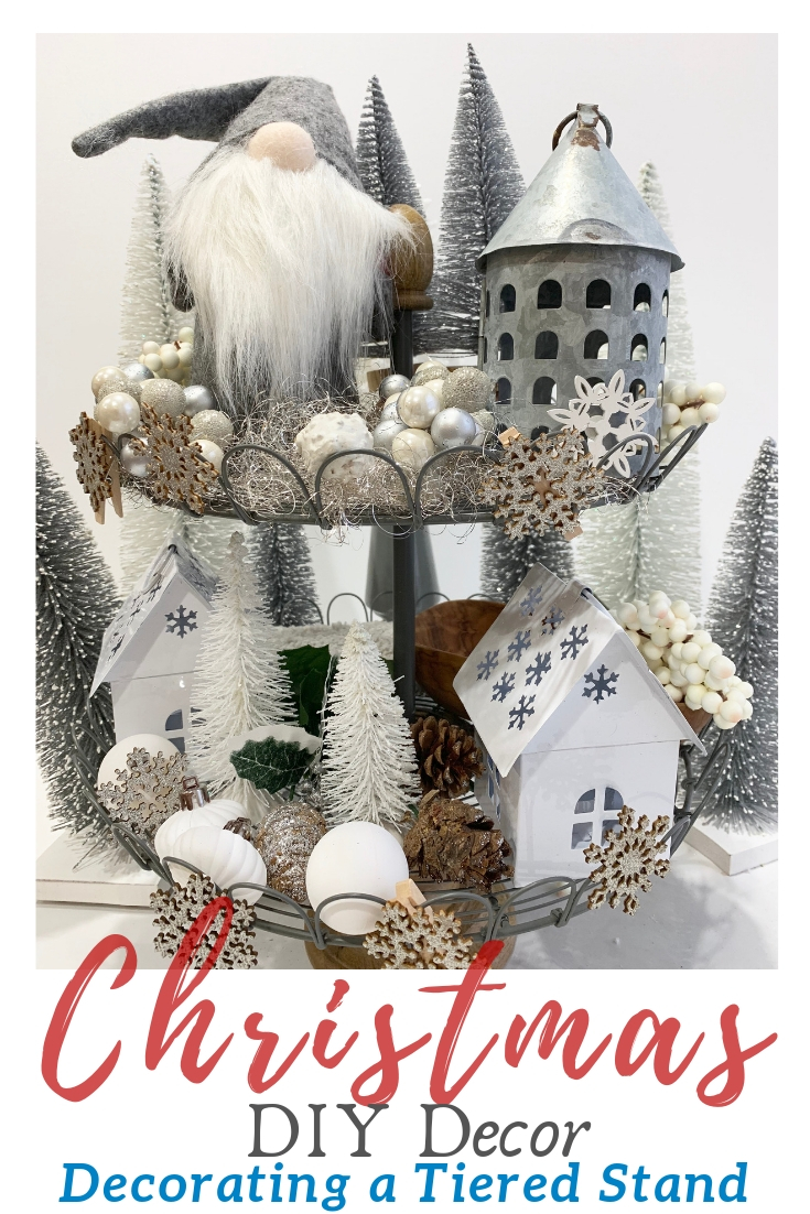 How to Style Your Tiered Stand for Christmas Farmhouse Tiered Stand Christmas Winter Decor #Farmhouse #Affordable #BudgetFriendly #Christmas #DIY #ChristmasDecor #FarmhouseDecor