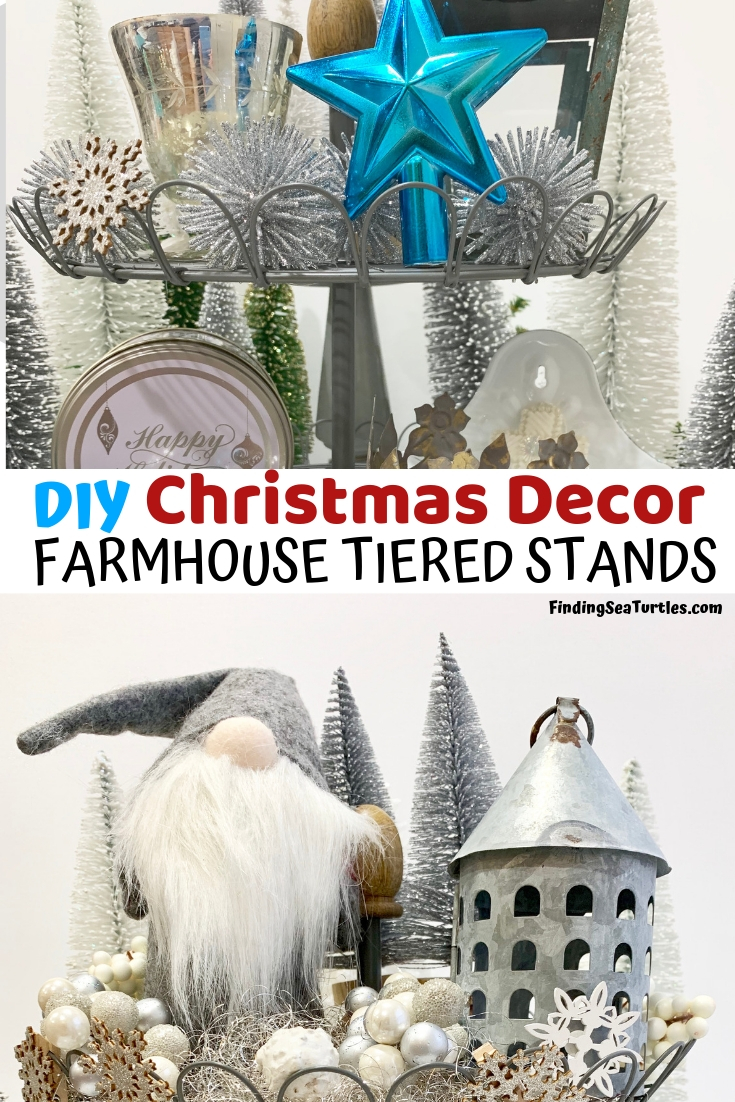 How to Style Your Tiered Stand for Christmas DIY Christmas Decor Farmhouse Tiered Stands #Farmhouse #Affordable #BudgetFriendly #Christmas #DIY #ChristmasDecor #FarmhouseDecor