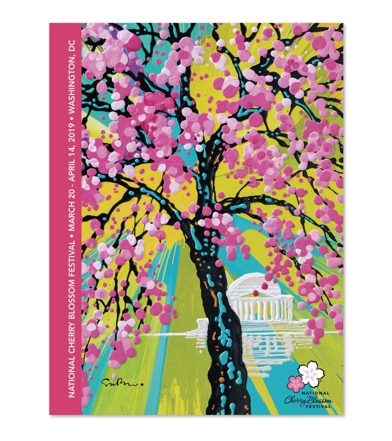 Visit the Spectacular National Cherry Blossom Festival 2019 in Washington DC 2019 OFFICIAL ART POSTER #CherryBlossomFestival #NationalCherryBlossom #CherryBlossom #SpringTime #SpringFlowers #WashingtonDC #Festival