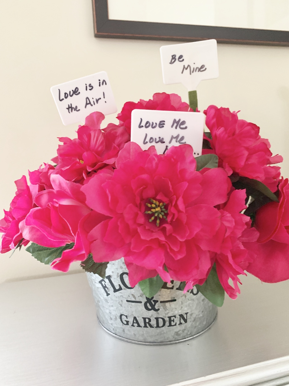 Valentine's Day Home Decor Messages of Love Floral Bucket #Farmhouse #Affordable #SimpleDecor #QuickAndEasy #BudgetFriendly #Valentine #ValentinesDay #DIY #StValentinesDecor #FarmhouseDecor