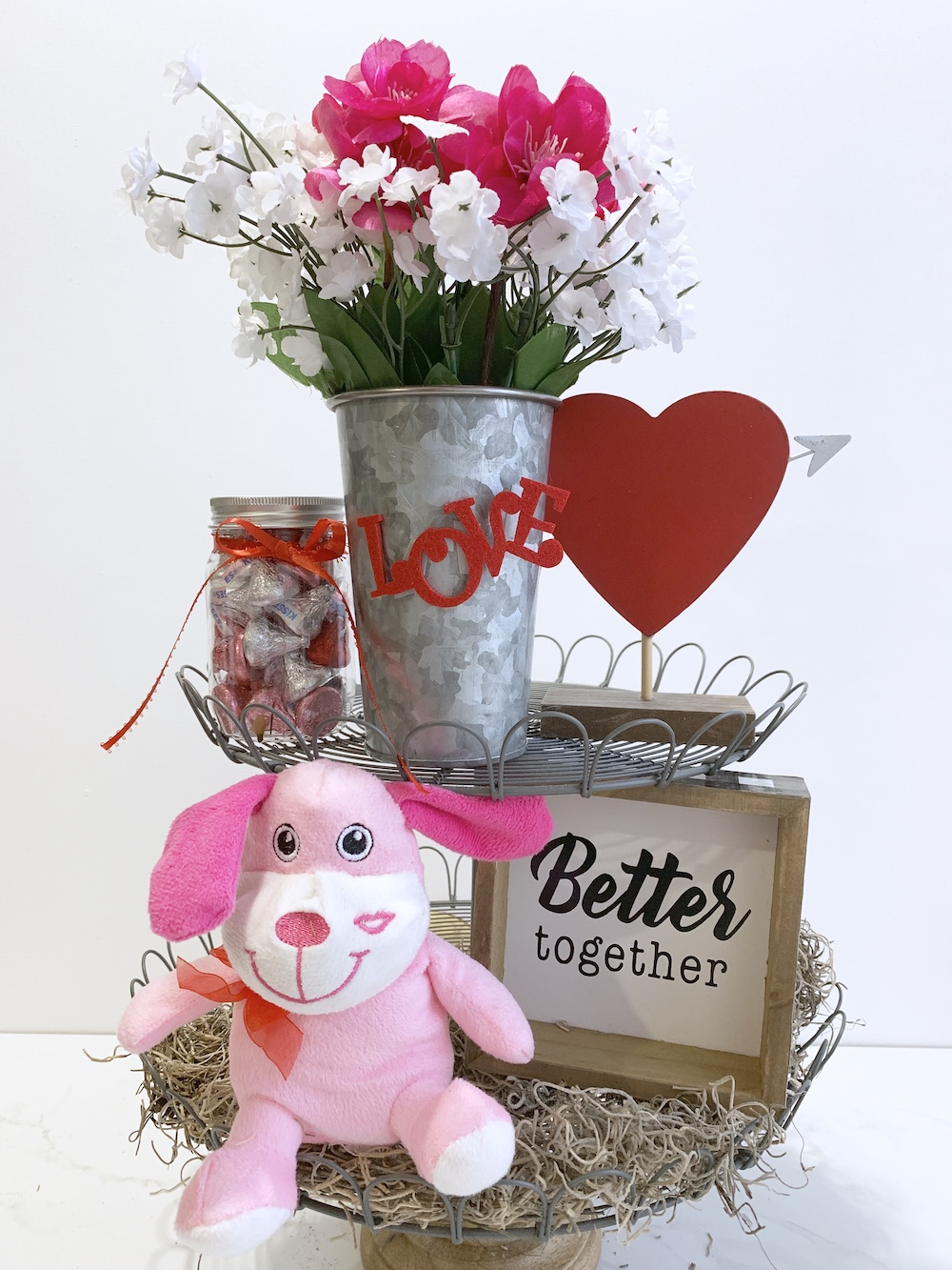 Valentine's Day Home Decor Better Together Farmhouse Stand #Farmhouse #Affordable #SimpleDecor #QuickAndEasy #BudgetFriendly #ValentinesDay #DIY #StValentinesDecor #FarmhouseDecor