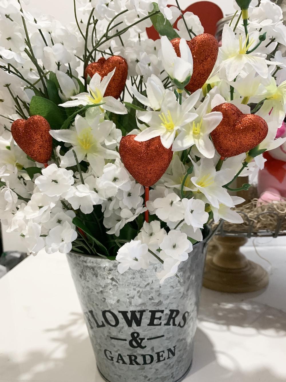 Valentine's Day Home Decor Heart Floral Bucket #Farmhouse #Affordable #SimpleDecor #QuickAndEasy #BudgetFriendly #Valentine #ValentinesDay #DIY #StValentinesDecor #FarmhouseDecor