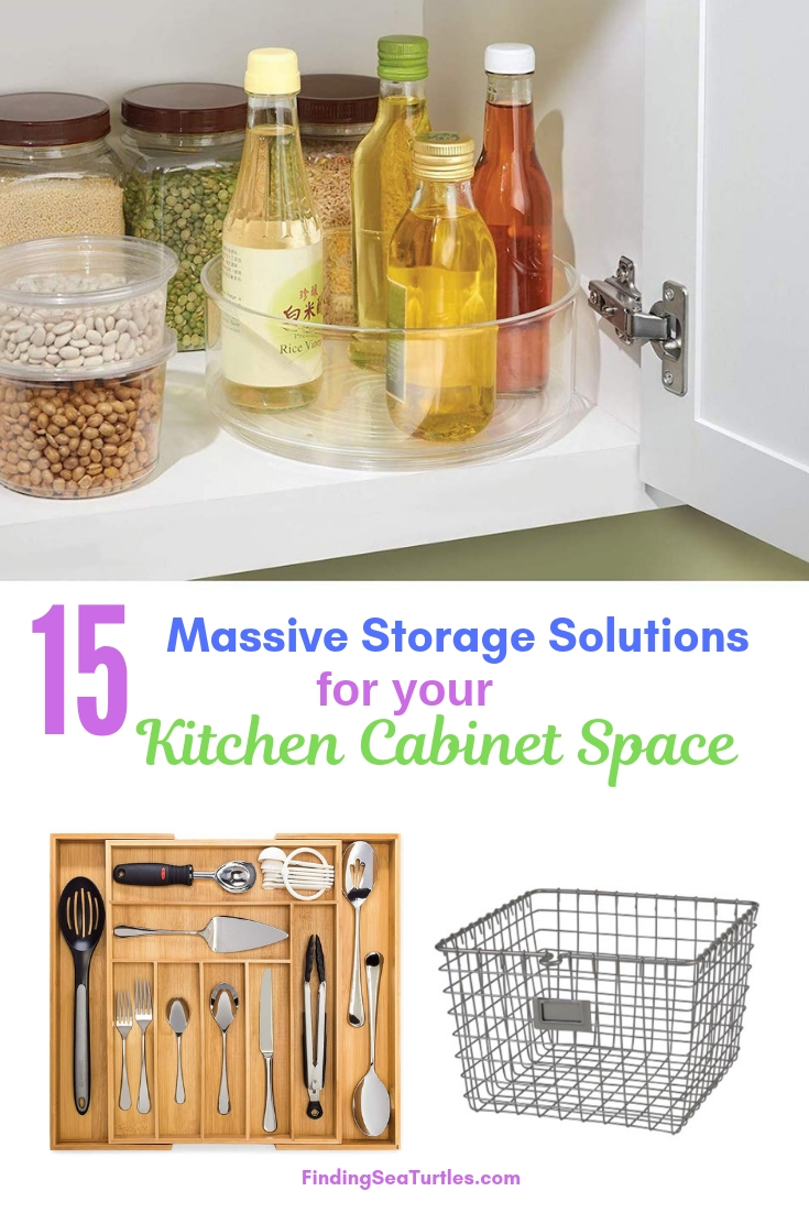 15 Massive Storage Solutions For Your Kitchen Cabinet Space #Organize #Organization #OrganizedKitchen #Kitchen #KitchenCabinets #KitchenStorage #CabinetStorage #Storage