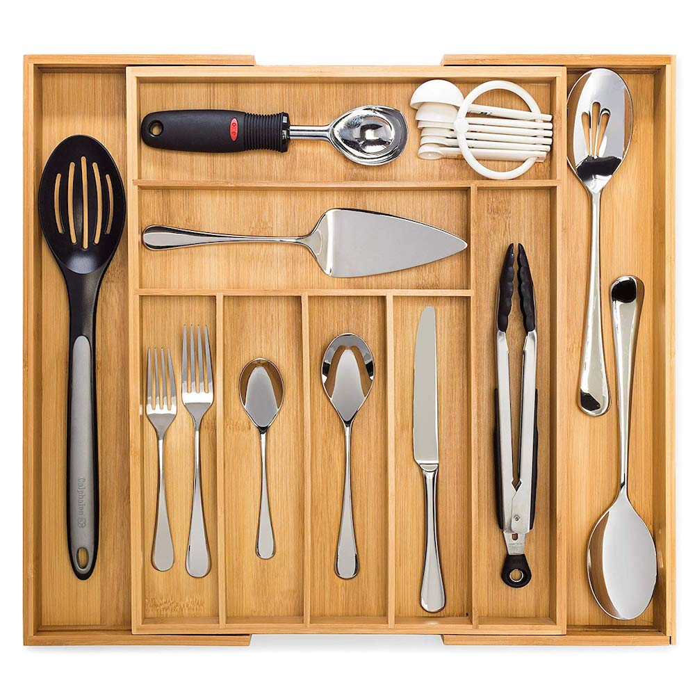 15 Ways to Maximize Kitchen Cabinet Space Bamboo Expandable Drawer Organizer #Organize #Organization #OrganizedKitchen #Kitchen #KitchenCabinets #KitchenStorage #CabinetStorage #Storage