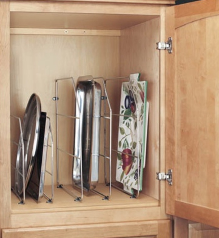 15 Ways to Maximize Kitchen Cabinet Space Rev A Shelf Tray Divider #Organize #Organization #OrganizedKitchen #Kitchen #KitchenCabinets #KitchenStorage #CabinetStorage #Storage