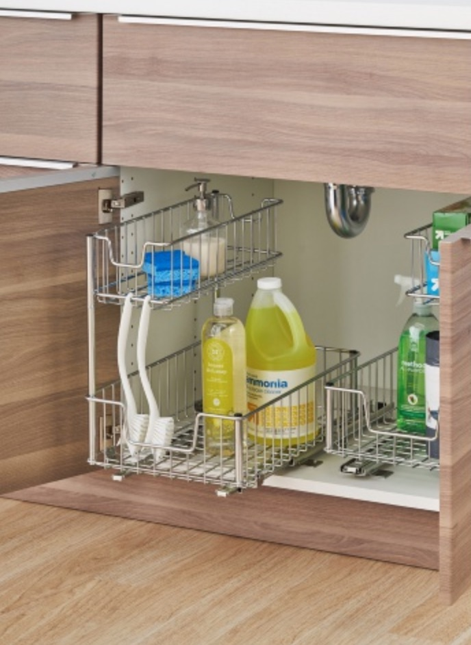15 Ways to Maximize Kitchen Cabinet Space Sliding Under Sink Organizer #Organize #Organization #OrganizedKitchen #Kitchen #KitchenCabinets #KitchenStorage #CabinetStorage #Storage
