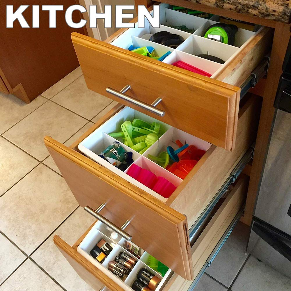 15 Ways to Maximize Kitchen Cabinet Space Uncluttered Designs Adjustable Drawer Dividers #Organize #Organization #OrganizedKitchen #Kitchen #KitchenCabinets #KitchenStorage #CabinetStorage #Storage