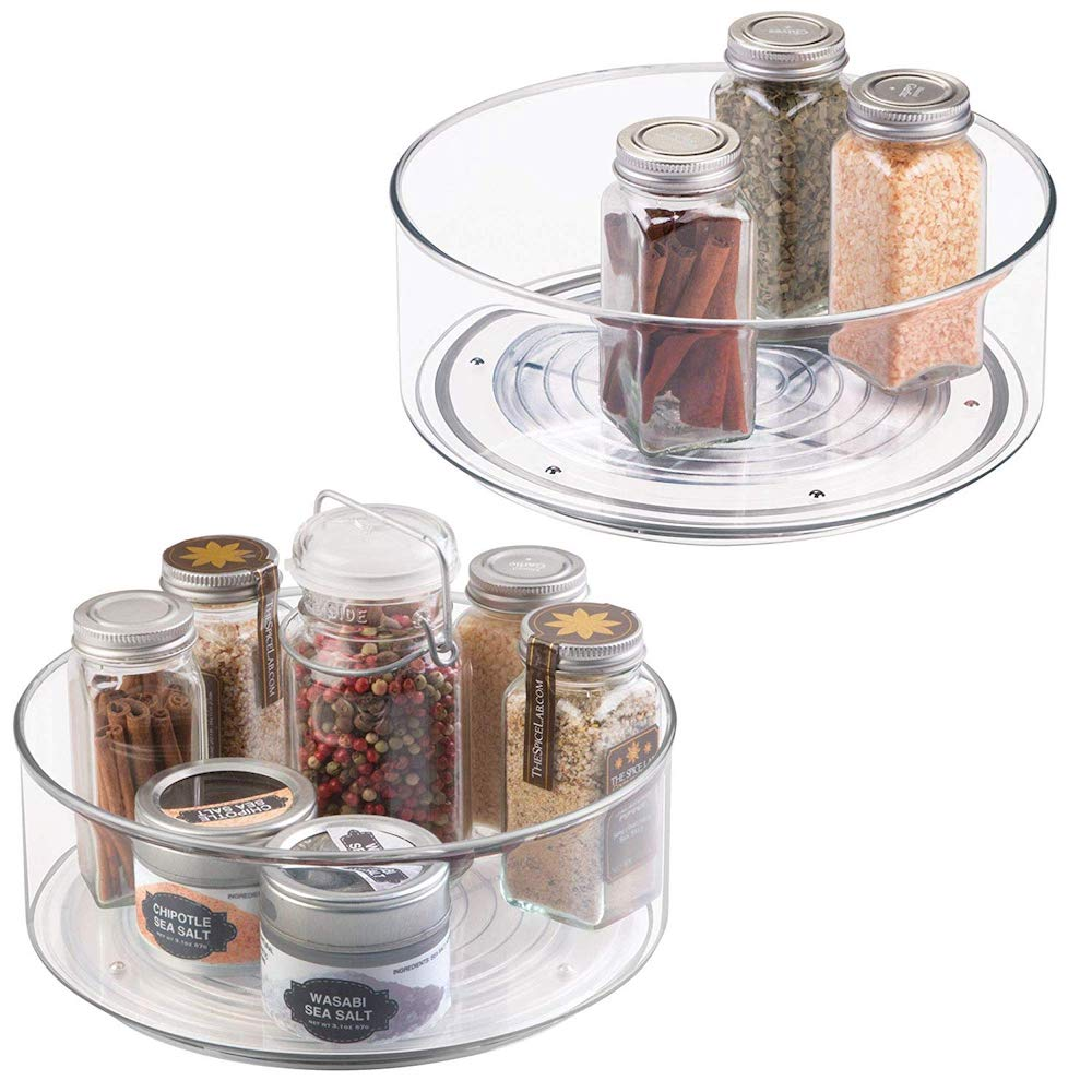 15 Ways to Maximize Kitchen Cabinet Space mDesign Plastic Lazy Susan Turntable #Organize #Organization #OrganizedKitchen #Kitchen #KitchenCabinets #KitchenStorage #CabinetStorage #Storage
