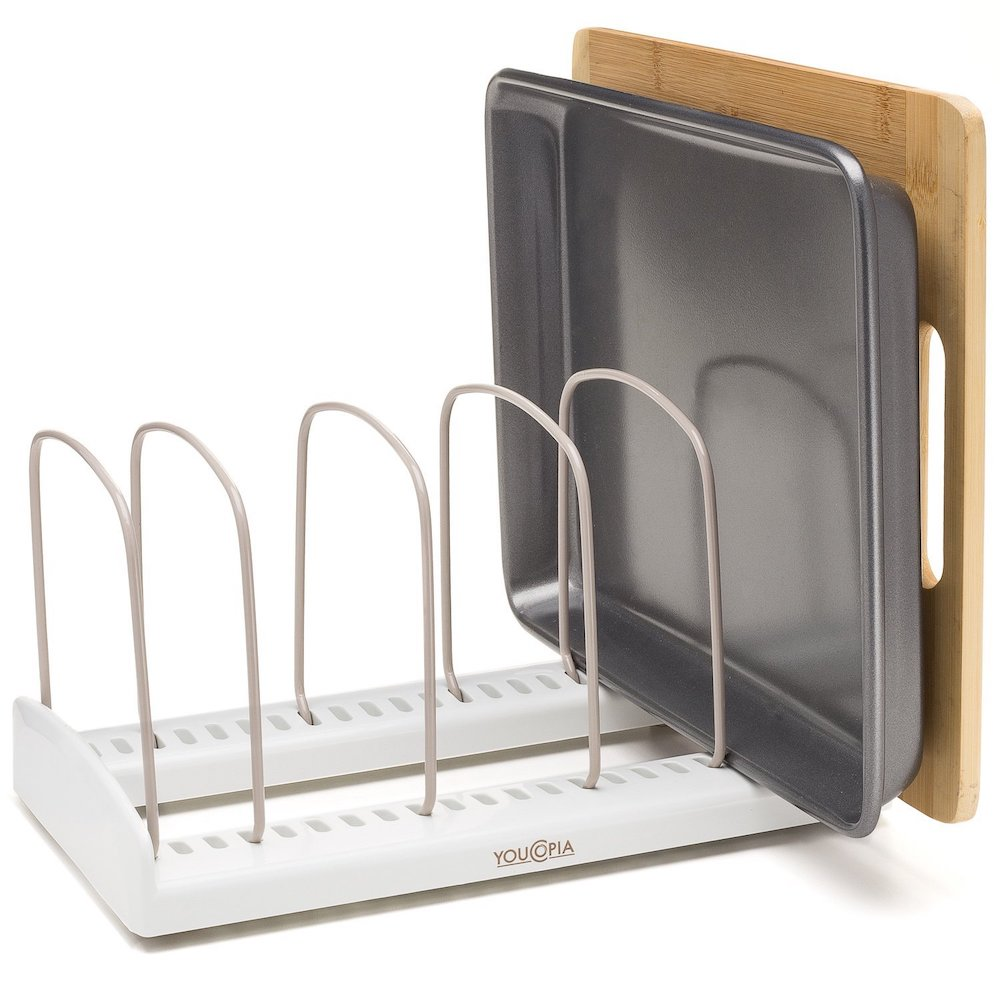 15 Ways to Maximize Kitchen Cabinet Space YouCopia StoreMore Adjustable Bakeware Organizer #Organize #Organization #OrganizedKitchen #Kitchen #KitchenCabinets #KitchenStorage #CabinetStorage #Storage