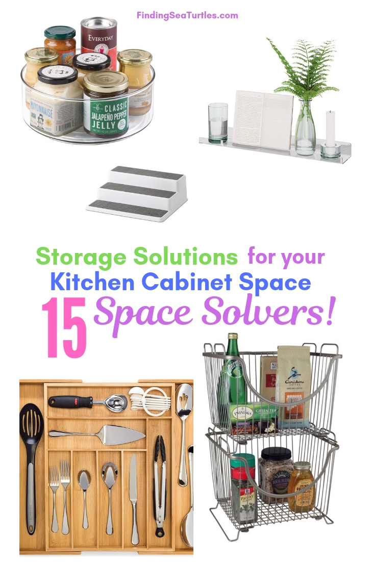 Storage Solutions For Your Kitchen Cabinet Space 15 Space Solvers! #Organize #Organization #OrganizedKitchen #Kitchen #KitchenCabinets #KitchenStorage #CabinetStorage #Storage