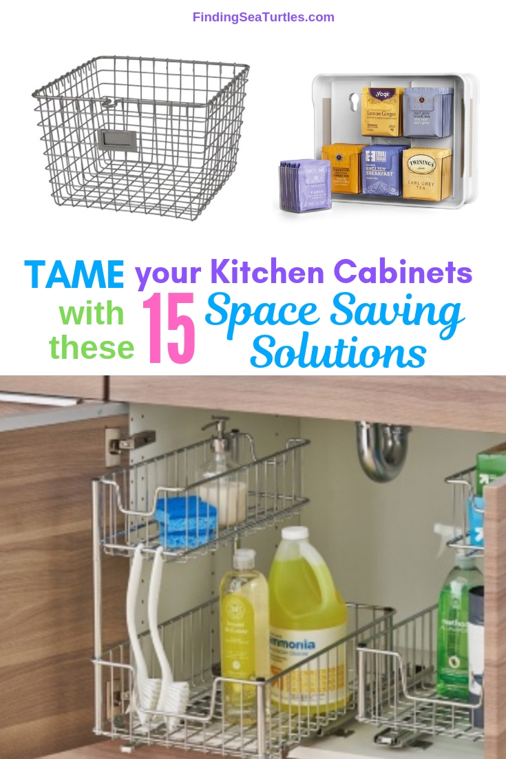 TAME Your Kitchen Cabinets With These 15 Space Saving Solutions #Organize #Organization #OrganizedKitchen #Kitchen #KitchenCabinets #KitchenStorage #CabinetStorage #Storage