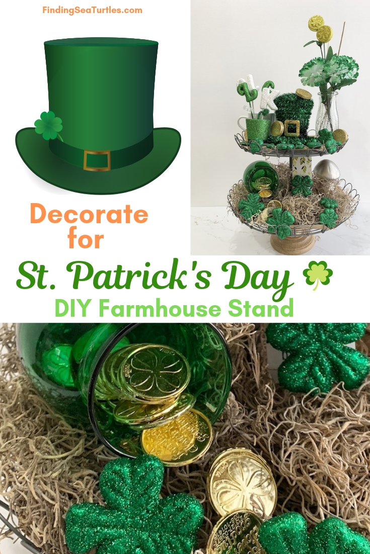 Decorate For St. Patrick's Day DIY Farmhouse Stand #Farmhouse #DIY #Affordable #SimpleDecor #QuickAndEasy #BudgetFriendly #StPatrick #StPatricksDay #StPatricksDecor #FarmhouseDecor