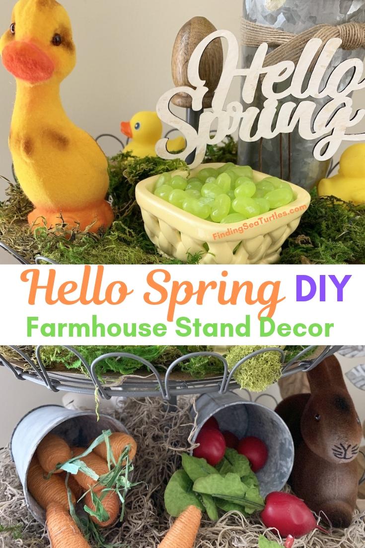 Hello Spring DIY Farmhouse Stand Decor #Farmhouse #DIY #Affordable #SimpleDecor #QuickAndEasy #BudgetFriendly #Spring #HelloSpring #SpringDecor #FarmhouseDecor