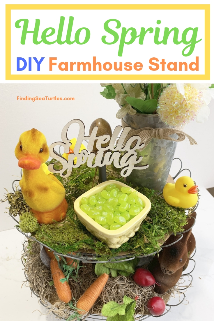 Hello Spring DIY Farmhouse Stand #Farmhouse #DIY #Affordable #SimpleDecor #QuickAndEasy #BudgetFriendly #Spring #HelloSpring #SpringDecor #FarmhouseDecor