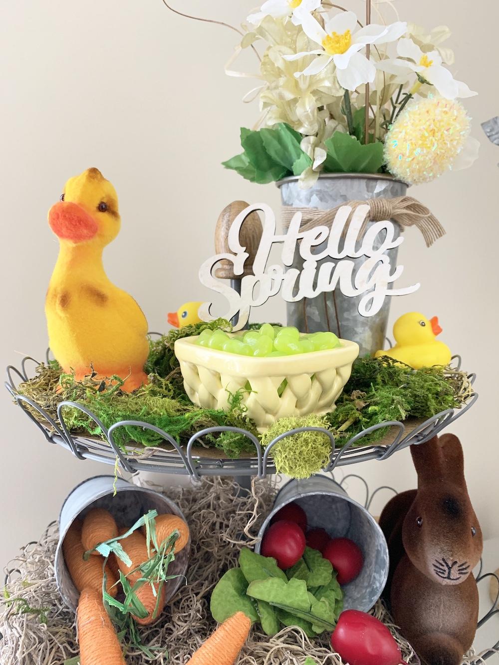 Hello Spring Farmhouse Stand Hello Spring #Farmhouse #DIY #Affordable #SimpleDecor #QuickAndEasy #BudgetFriendly #Spring #HelloSpring #SpringDecor #FarmhouseDecor