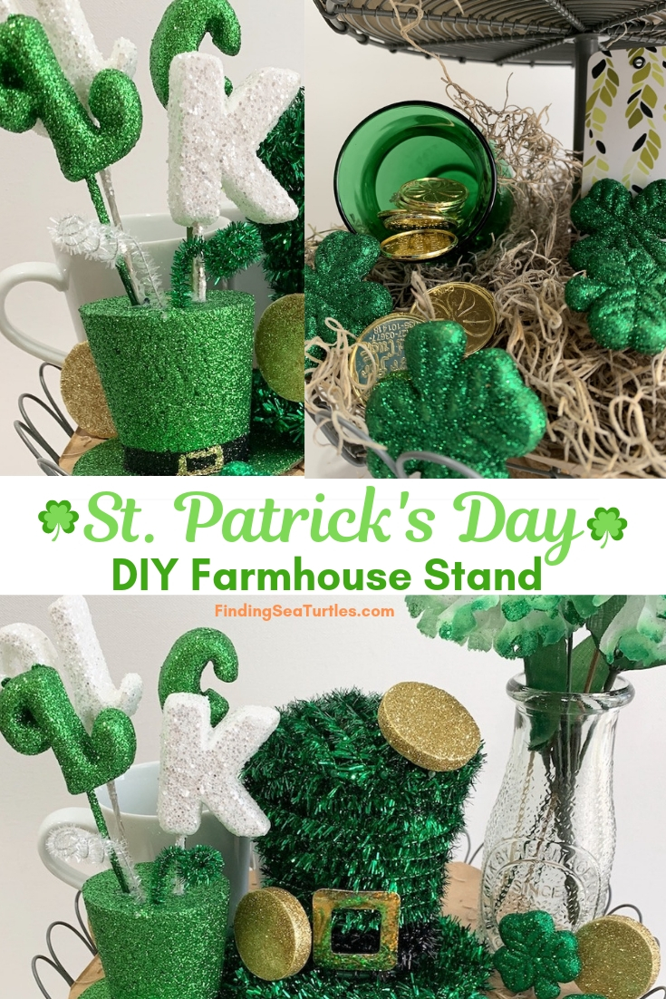 St. Patrick's Day DIY Farmhouse Stand #Farmhouse #DIY #Affordable #SimpleDecor #QuickAndEasy #BudgetFriendly #StPatrick #StPatricksDay #StPatricksDecor #FarmhouseDecor