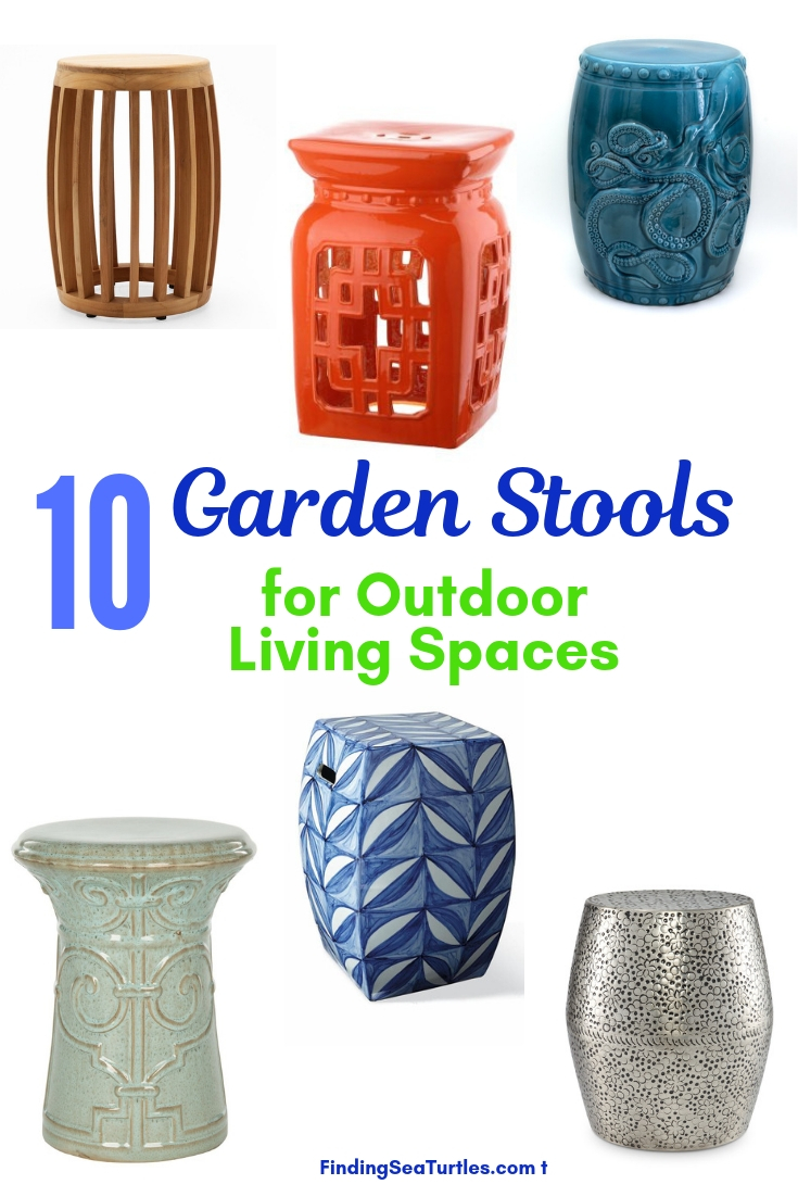 10 Garden Stools For Outdoor Living Spaces #SmallSpaces #SmallSpaceLiving #Garden #Patio #Porch #Deck #GardenStool #GardenSeating #OutdoorStool #PatioSeating #PorchSeating
