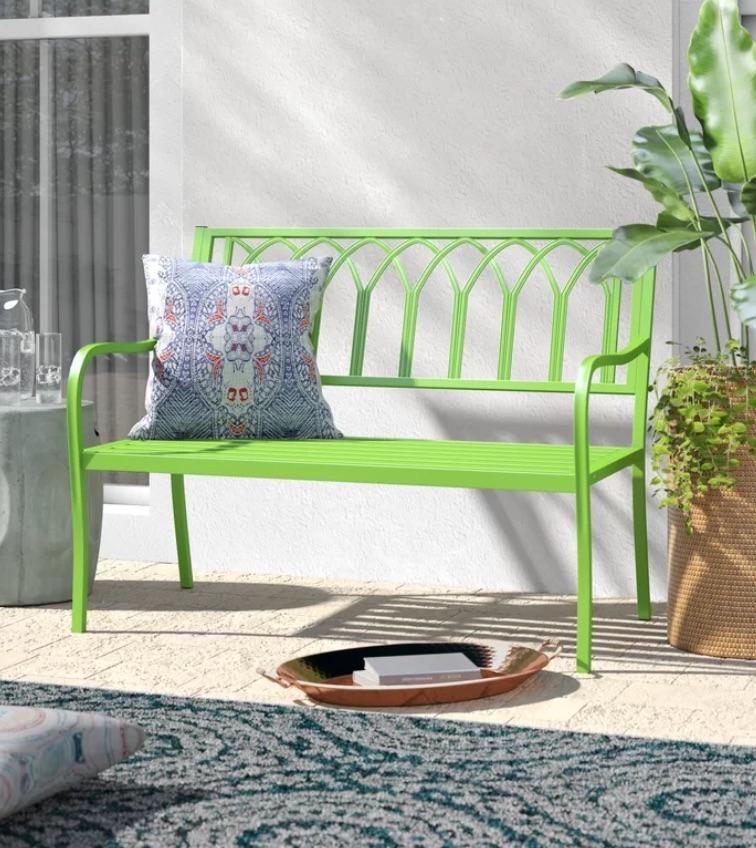 8 Garden Benches for a Restful Break Blankenship Garden Bench Green #Garden #Gardening #Landscape #Landscaping #GardenBench #Benches #OutdoorBench #Patio #Deck #Porch
