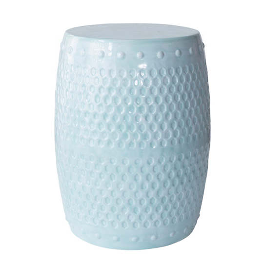 10 Versatile Garden Stools for Outdoor Living Spaces Robins Egg Blue Glaze Stool #SmallSpaces #SmallSpaceLiving #Garden #Patio #Porch #Deck #GardenStool #GardenSeating #OutdoorStool #PatioSeating #PorchSeating