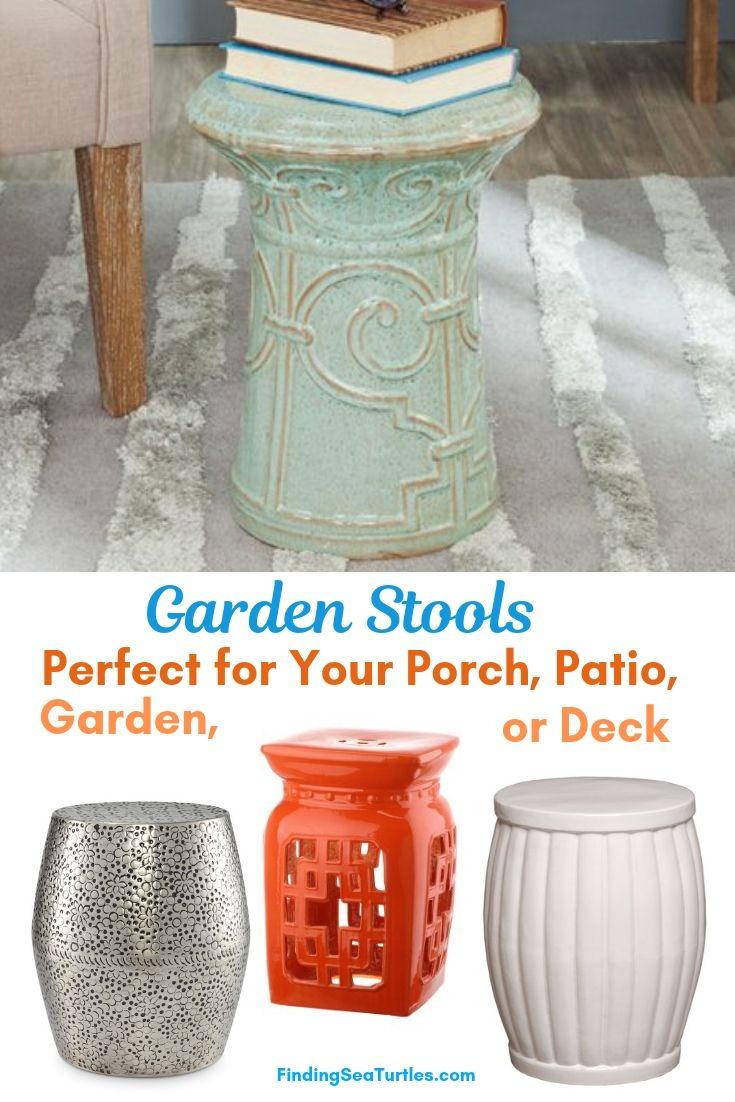 Garden Stools Perfect For Your Porch Patio Garden Or Deck #SmallSpaces #SmallSpaceLiving #Garden #Patio #Porch #Deck #GardenStool #GardenSeating #OutdoorStool #PatioSeating #PorchSeating