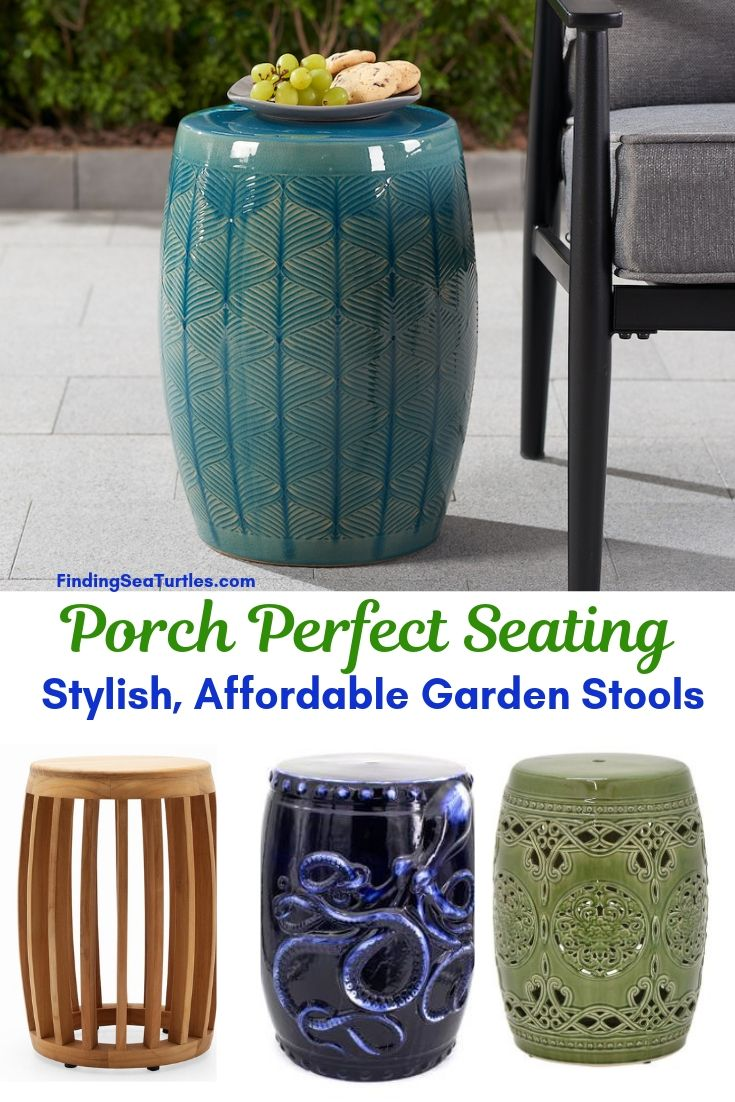 Porch Perfect Seating Stylish Affordable Garden Stools #SmallSpaces #SmallSpaceLiving #Garden #Patio #Porch #Deck #GardenStool #GardenSeating #OutdoorStool #PatioSeating #PorchSeating