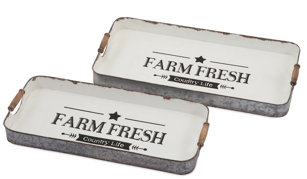 15 Farmhouse Trays for Every Budget Farm Fresh Country Life Tray Set #Farmhouse #FarmhouseDecor #FarmhouseTrays #RusticDecor #Patio #OutdoorSpaces #OutdoorLiving #IndoorLiving #Entertaining