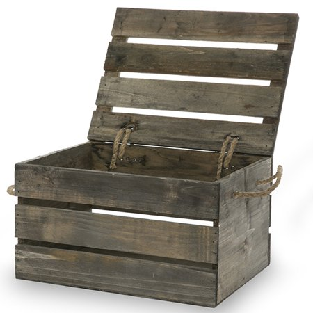 17 Farmhouse Crates for an Orderly Home Antique Grey Wood Crate With Lid #WoodCrates #Farmhouse #FarmhouseDecor #FarmhouseCrates #RusticDecor #Storage #Organization #OrganizedHome #IndustrialDecor