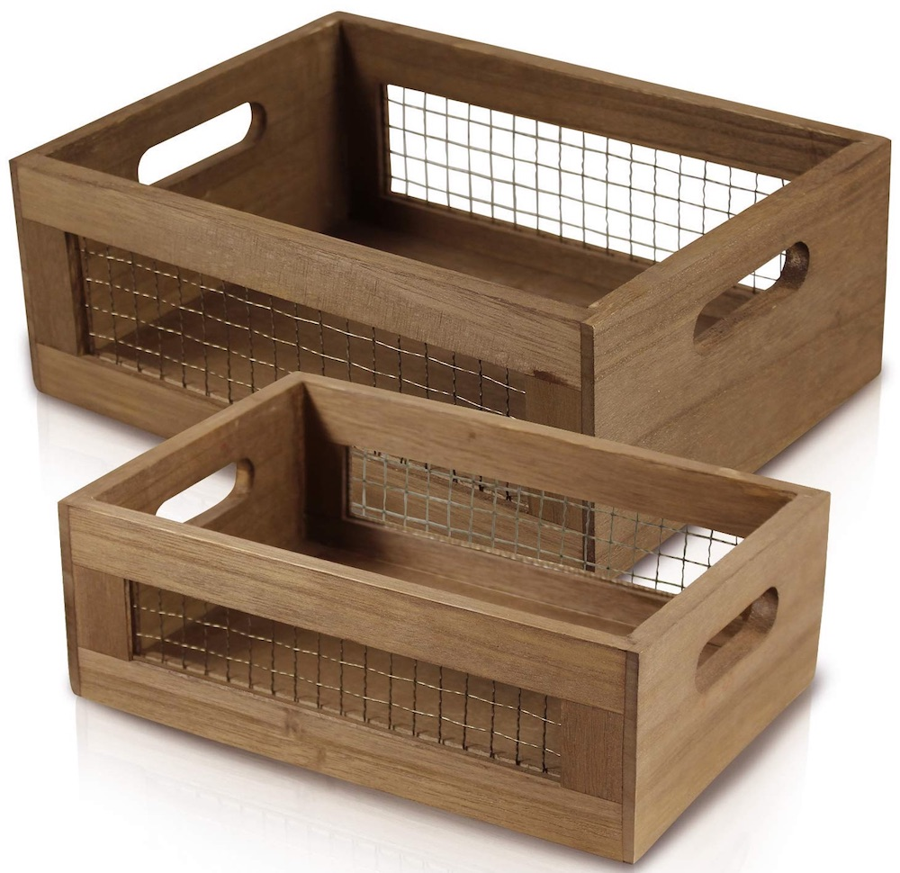 17 Farmhouse Crates for an Orderly Home Wooden Countertop Basket Crate Set #WoodCrates #Farmhouse #FarmhouseDecor #FarmhouseCrates #RusticDecor #Storage #Organization #OrganizedHome #IndustrialDecor