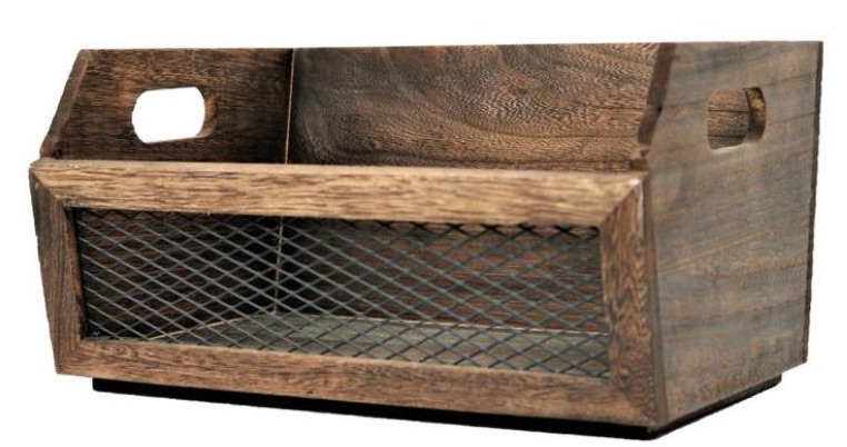 17 Farmhouse Crates for an Orderly Home Dark Burnt Wood Crate #WoodCrates #Farmhouse #FarmhouseDecor #FarmhouseCrates #RusticDecor #Storage #Organization #OrganizedHome #IndustrialDecor