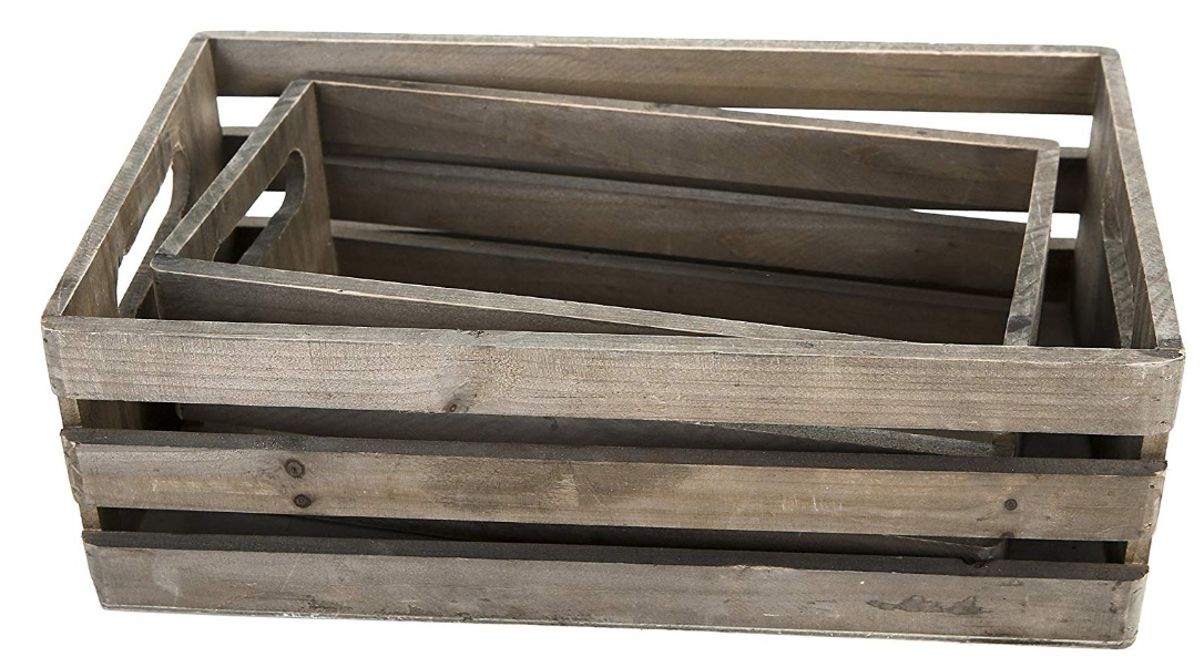 17 Farmhouse Crates for an Orderly Home Distressed Gray Wood Nesting Boxes #WoodCrates #Farmhouse #FarmhouseDecor #FarmhouseCrates #RusticDecor #Storage #Organization #OrganizedHome #IndustrialDecor
