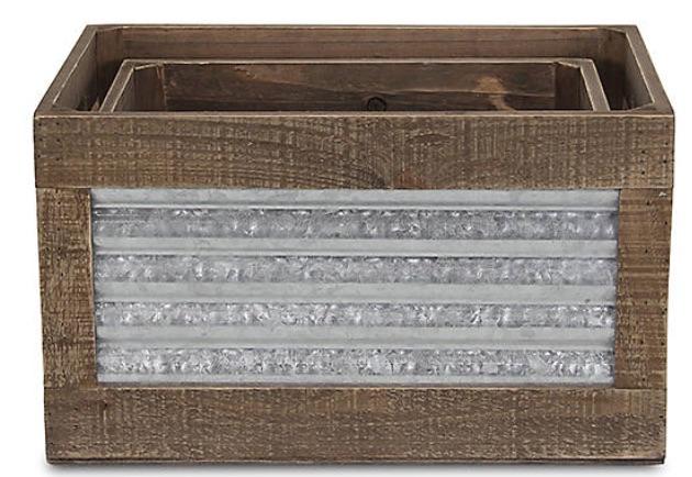 17 Farmhouse Crates for an Orderly Home Ridged Metal Sides Crate Set #WoodCrates #Farmhouse #FarmhouseDecor #FarmhouseCrates #RusticDecor #Storage #Organization #OrganizedHome #IndustrialDecor